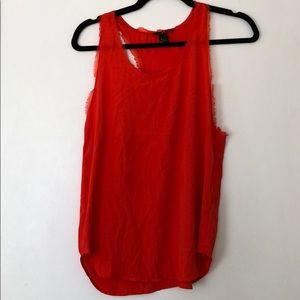 H&M Red Sleeveless Blouse with Fringe